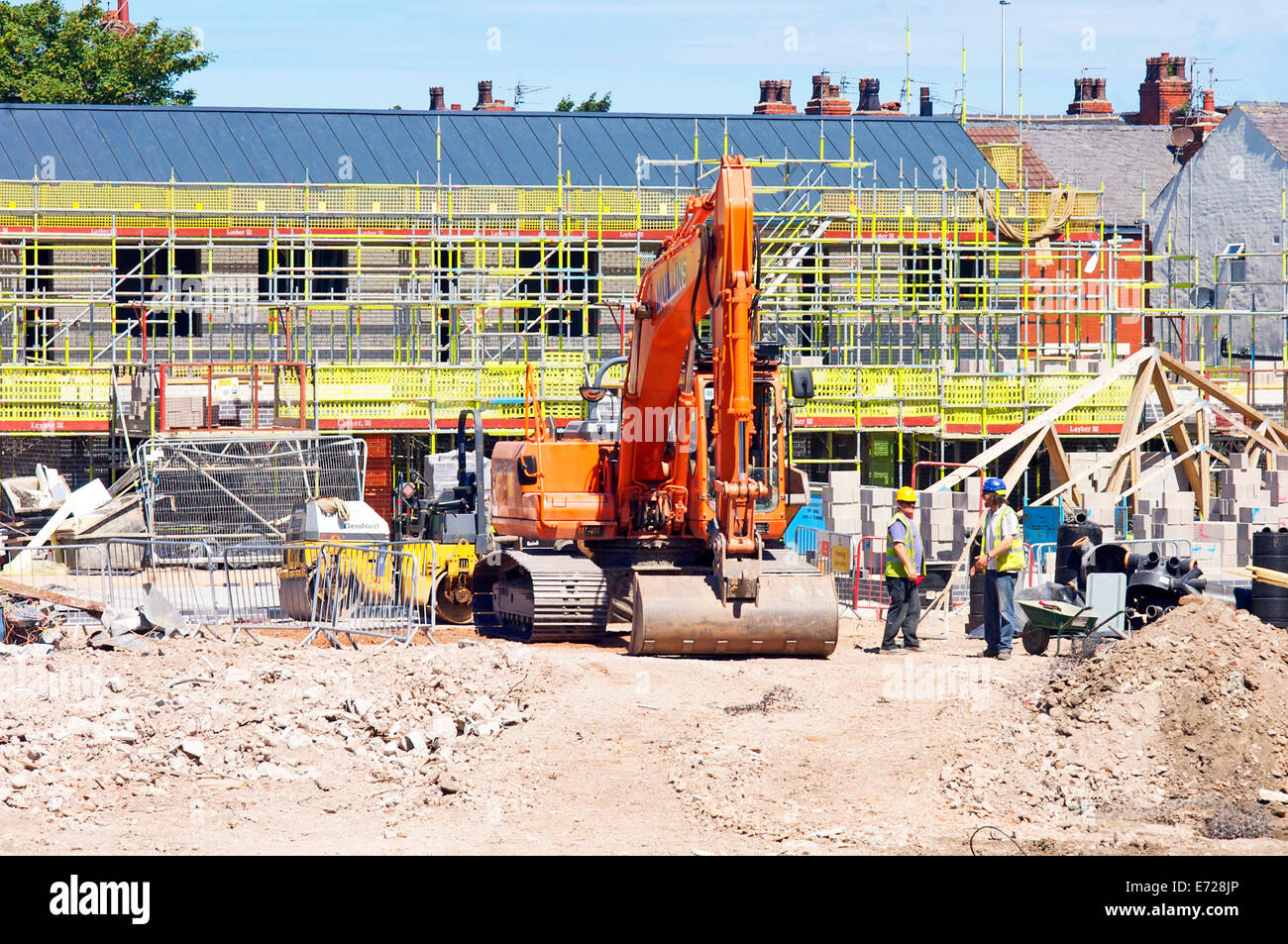 Social housing development being created on site of high rise flats that previously occupied the area - Stock Image