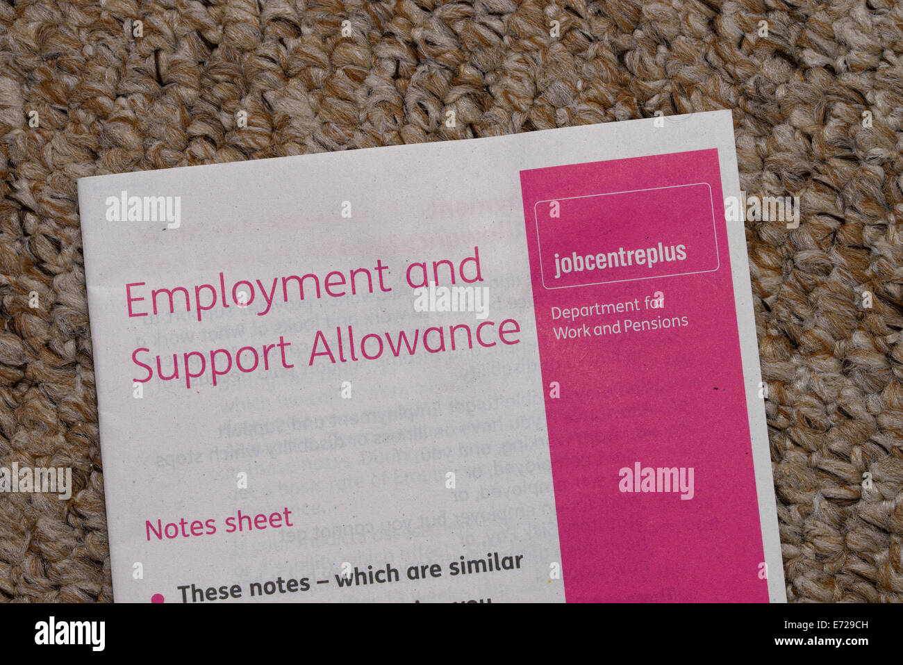 Notes sheet to accompany an Employment and Support Allowance (ESA) application form - Stock Image
