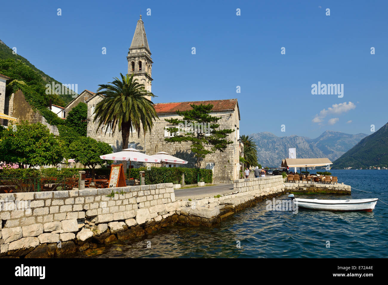 Perast harbour, Bay of Kotor, Montenegro, The Balkans - Stock Image