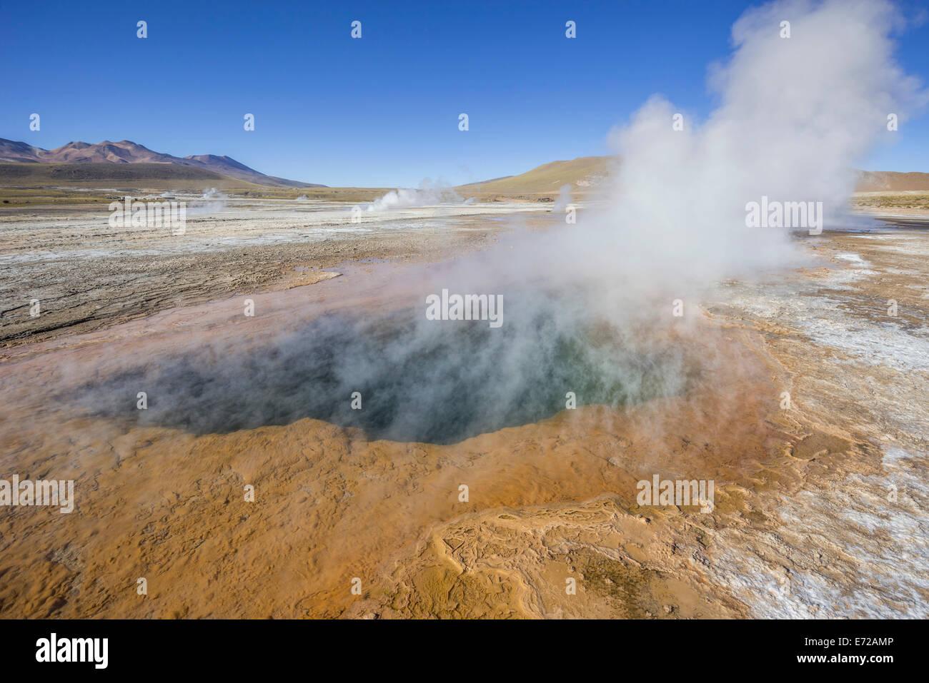 Tatio Geysers, steam sources, San Pedro de Atacama, Antofagasta Region, Chile - Stock Image
