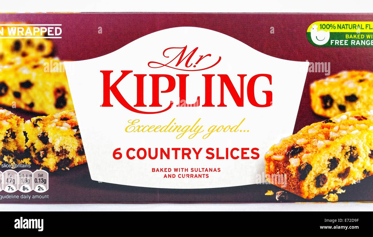Mr Kipling 6 country slices retail pack packaging - Stock Image