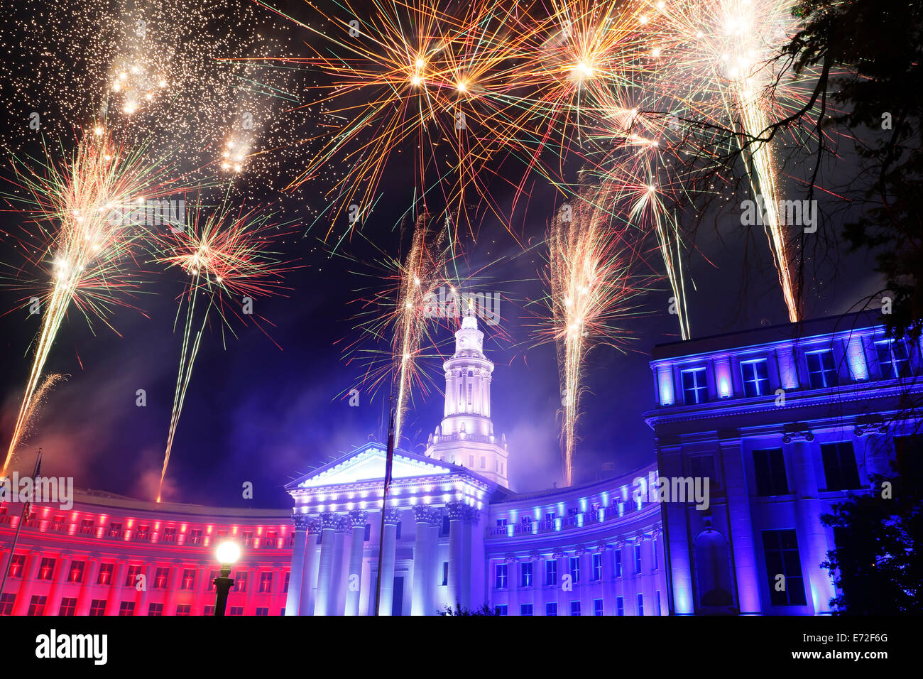 Denver City & County Building and fireworks, Independence Eve Celebration, Denver, Colorado USA - Stock Image