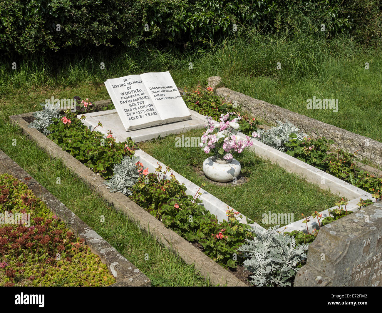 Grave Of Author Winifred Holtby In Churchyard Of All Saints Church Stock Photo Alamy