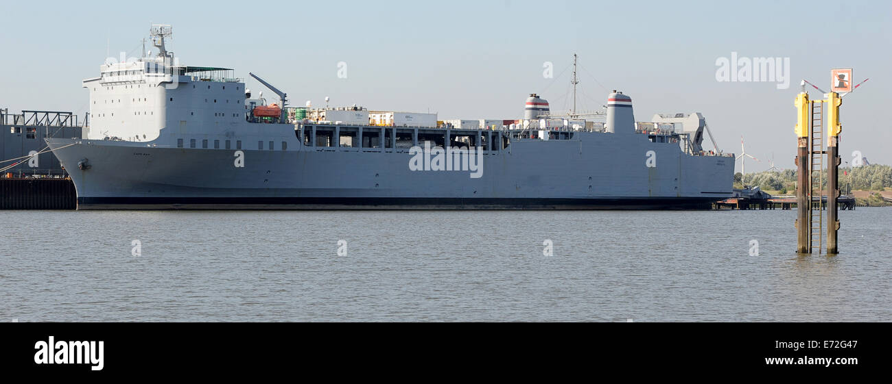Bremen, Germany. 04th Sep, 2014. US special ship 'Cape Ray' with poison gas from Syria lies at Neustadt - Stock Image