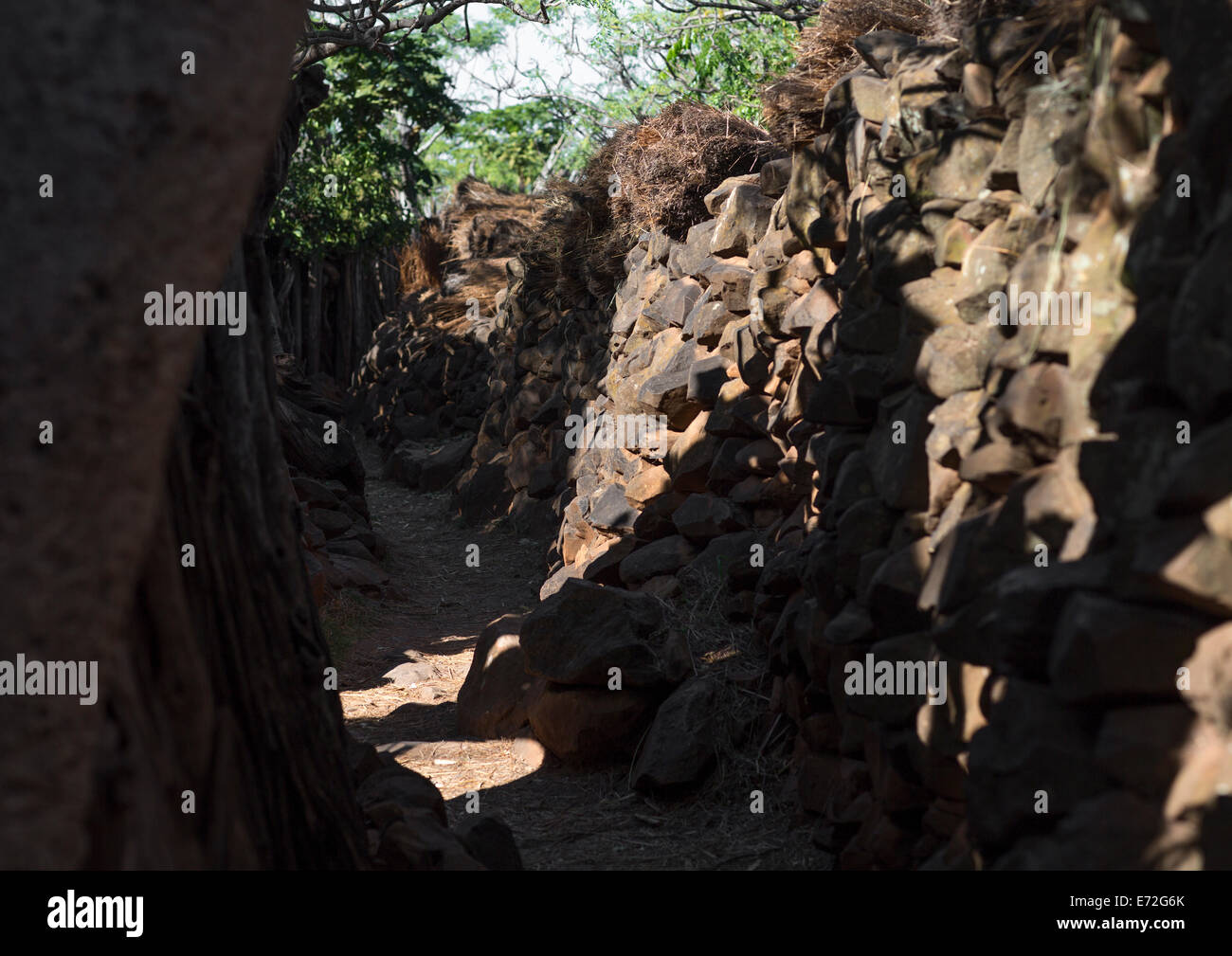 Alley In A Konso Village, Ethiopia - Stock Image