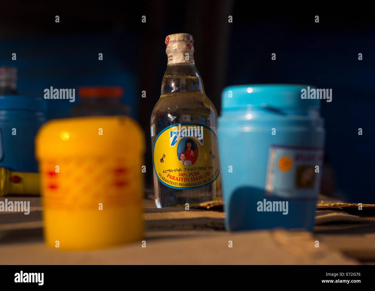 Parraffin Bottle In A Market, Gambela, Ethiopia - Stock Image