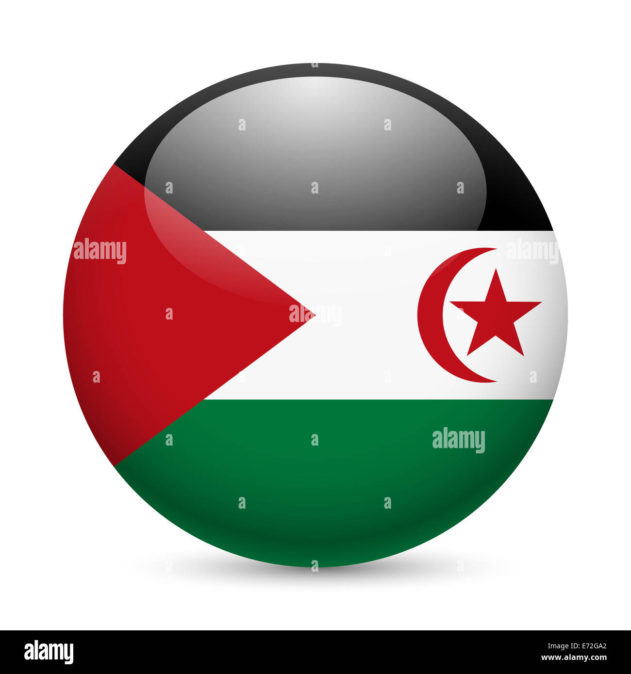 Flag of Sahrawi Arab Democratic Republic as round glossy icon. Button with flag design - Stock Image