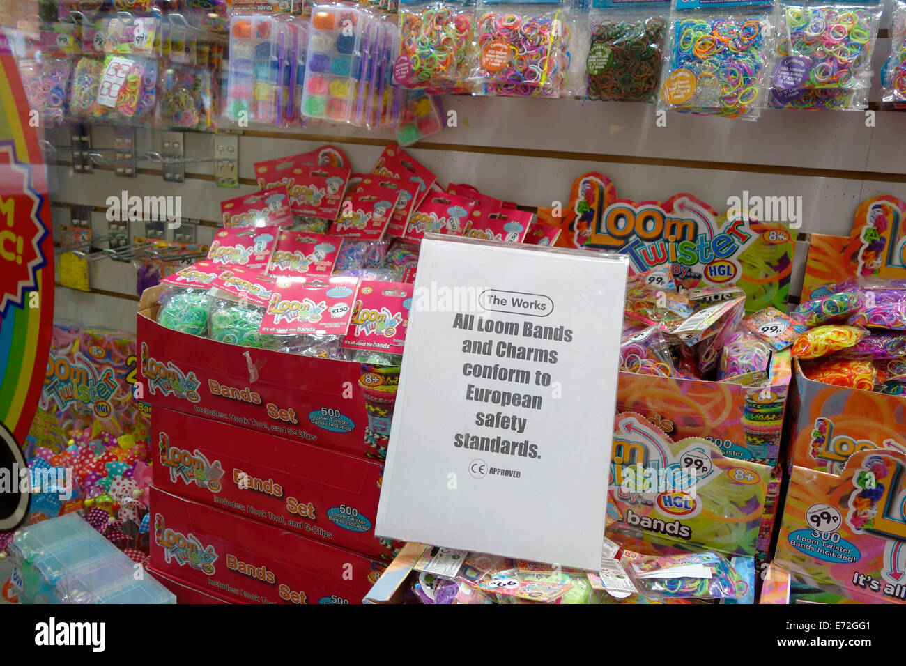 Exeter Uk 04/09/14. After scares about toxic chemicals in Loom Bands a retailer reassures buyers that they conform - Stock Image