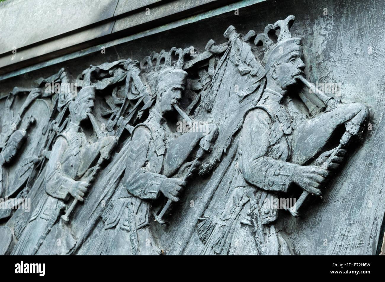 Detail of the Scots American War Memorial frieze in Princes Street Gardens, Edinburgh Stock Photo