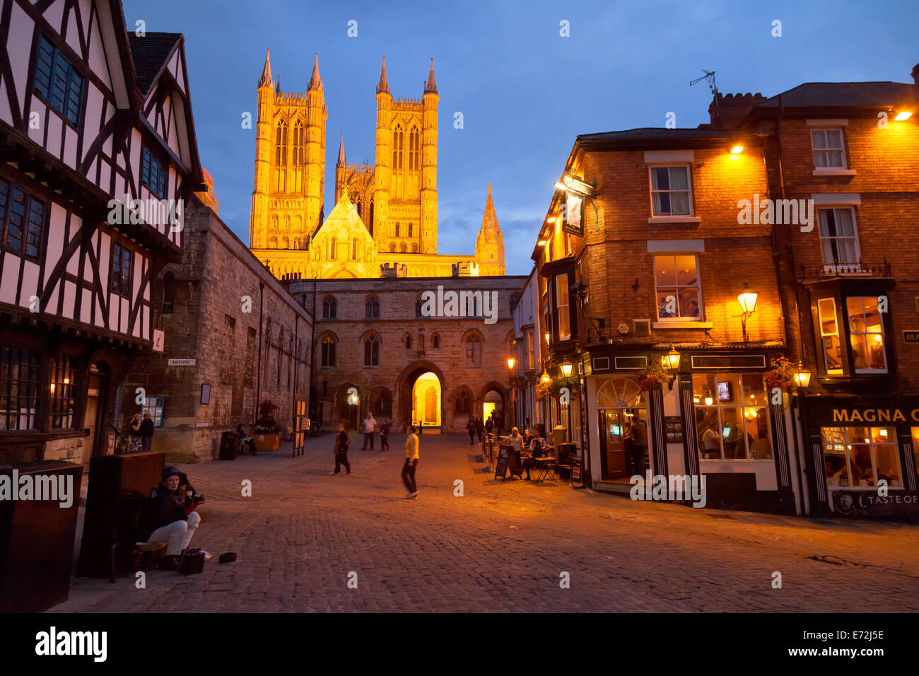 Lincoln city centre at night with the cathedral seen from Castle Square,  Lincoln UK - Stock Image