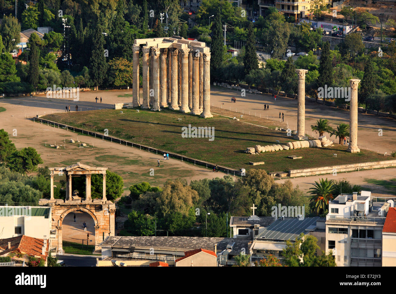 View of the Temple of Olympian Zeus and Hadrian's Gate from the Acropolis, Athens, Greece. - Stock Image