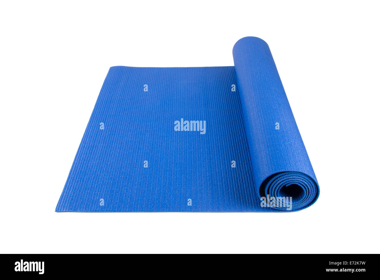 Side View Of Blue Rolled Yoga Pilates Or Fitness Mat For Exercise Stock Photo Alamy