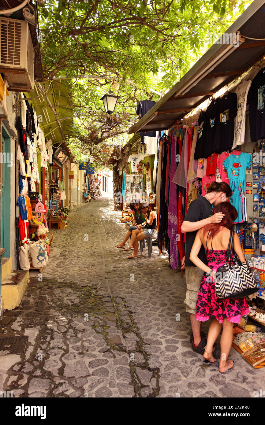 Walking in the picturesque alleys of Molyvos (or 'Mythimna') town, Lesvos island, Northeast Aegean, Greece - Stock Image