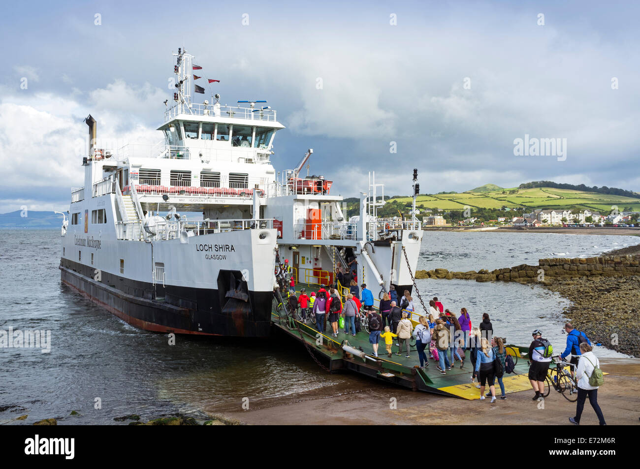 Caledonian MacBrayne car ferry, that sails between the island of Millport and Largs, Ayrshire across the Firth of - Stock Image
