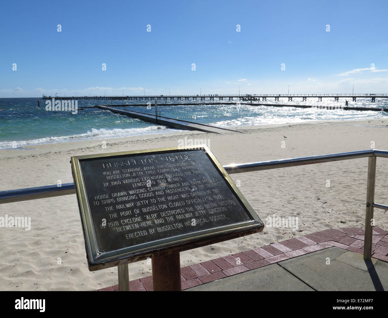 Information plate at Busselton Jetty in Western Australia Stock Photo
