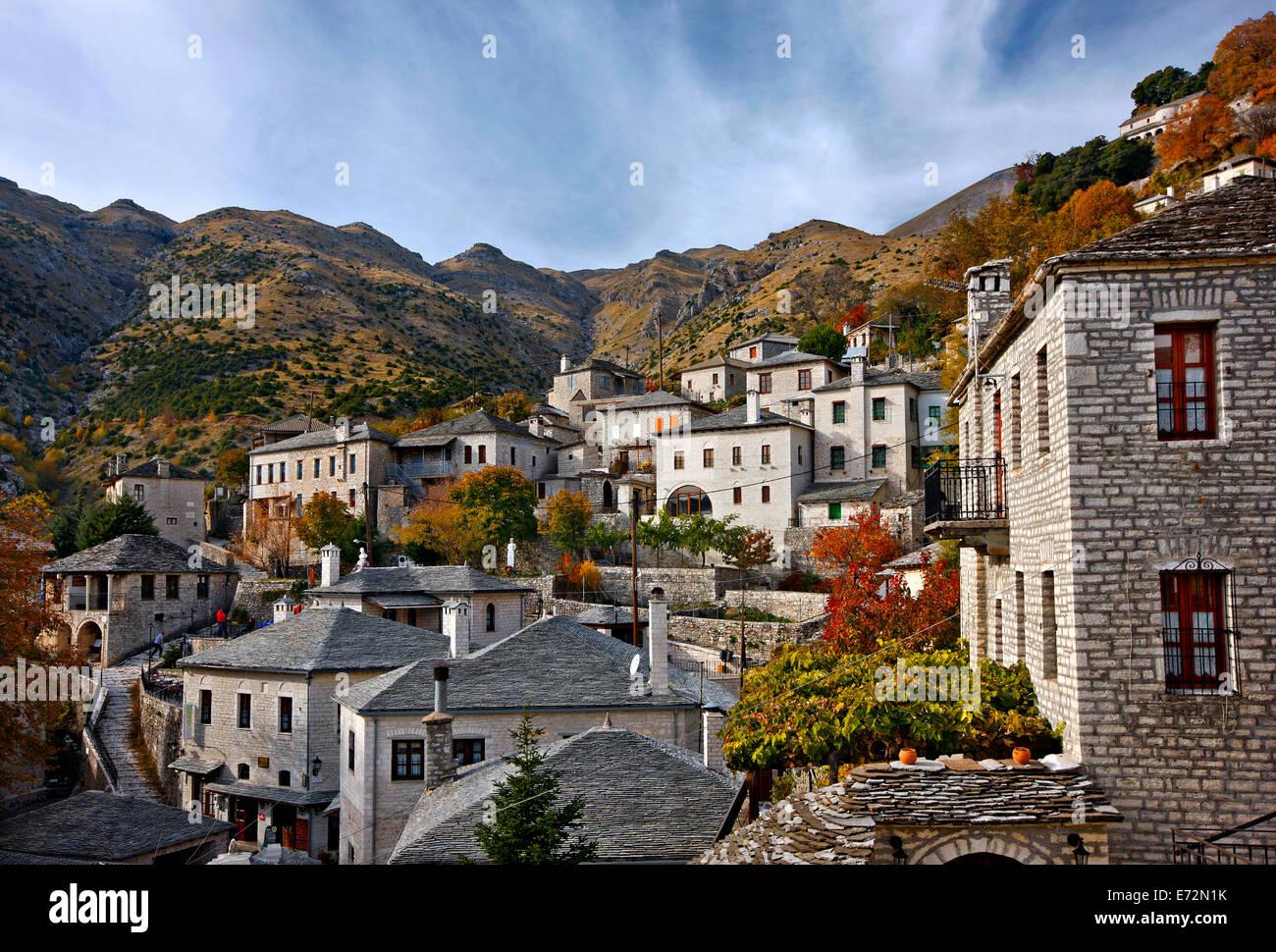 Syrrako village, one of the most beautiful Greek mountainous villages, on Tzoumerka mountains, Ioannina, Epirus, - Stock Image