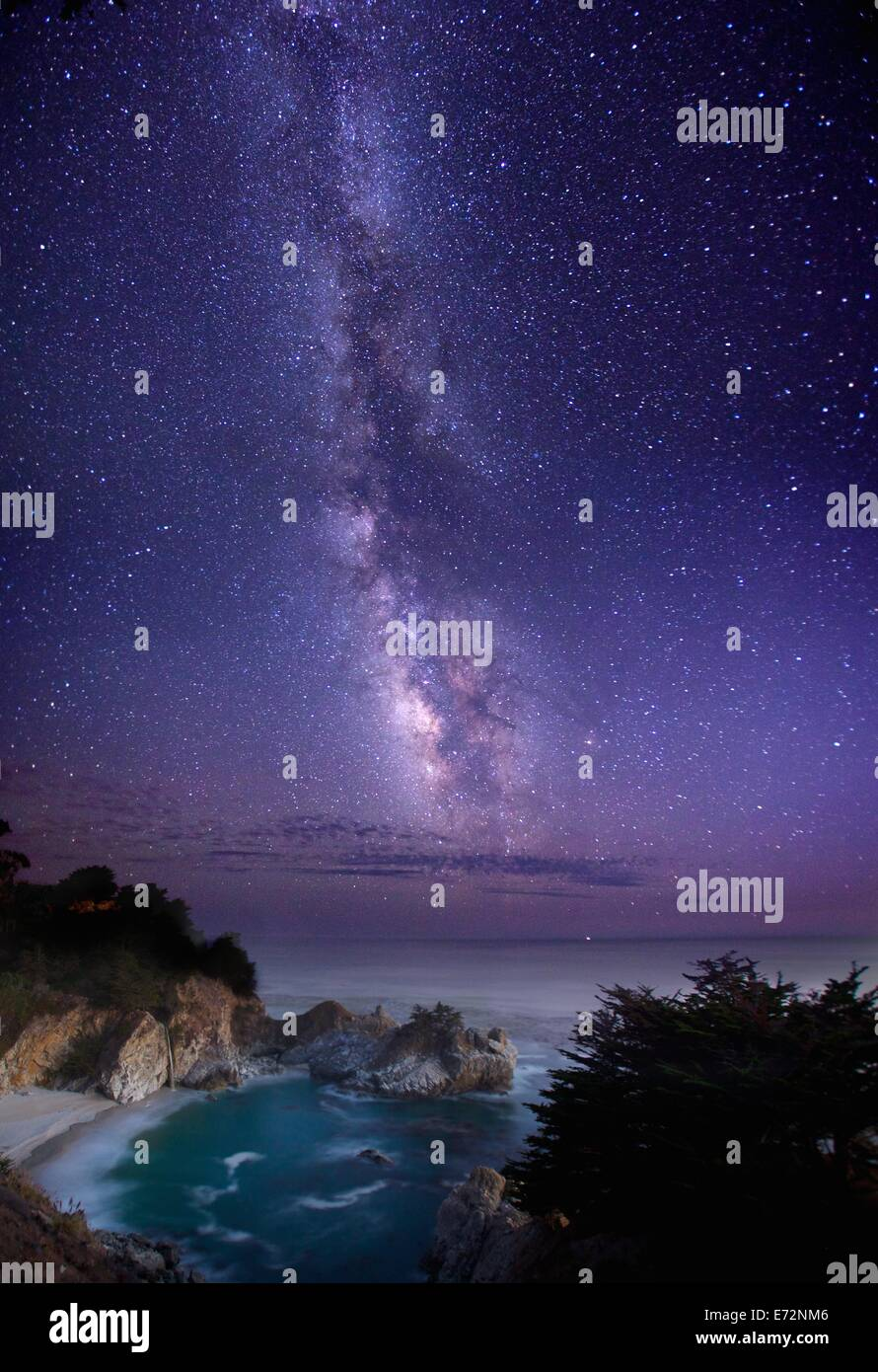 Beautiful McWay Cove in Julia Pfeiffer Burns State Park in Big Sur, California with the Milky Way at night - Stock Image