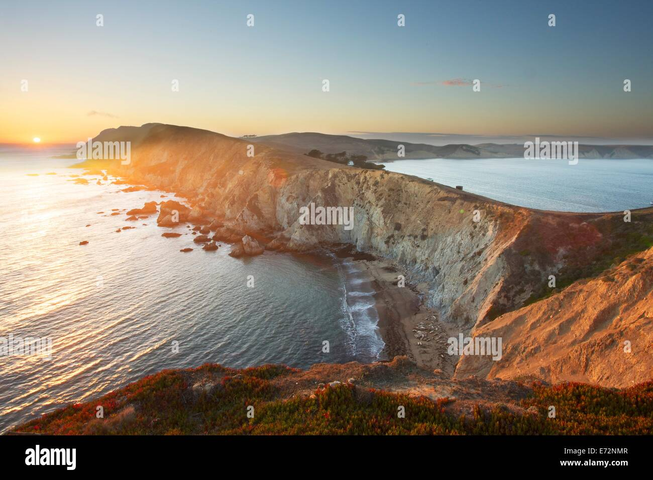 Point Reyes at sunset in Marin County, California - Stock Image