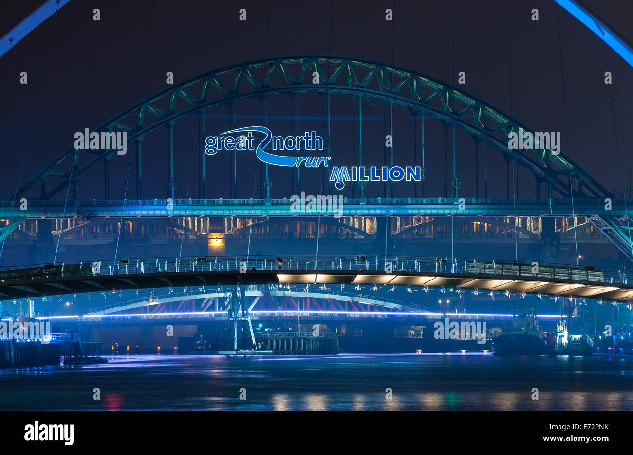Pictures of event preceding 2014 Great North Run on Tyneside, to celebrate the millionth finisher in the history Stock Photo