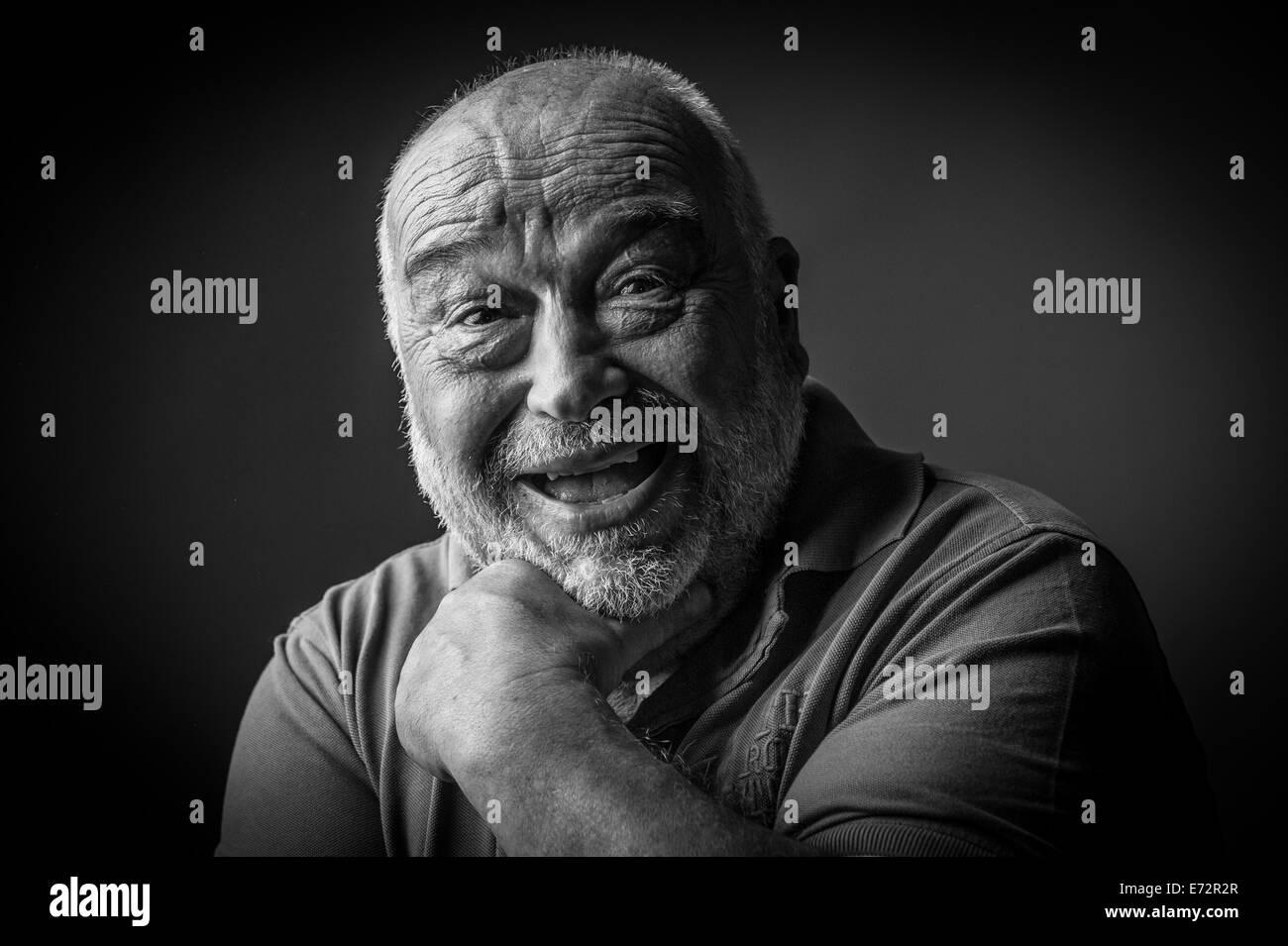 happy old man looking strange Stock Photo