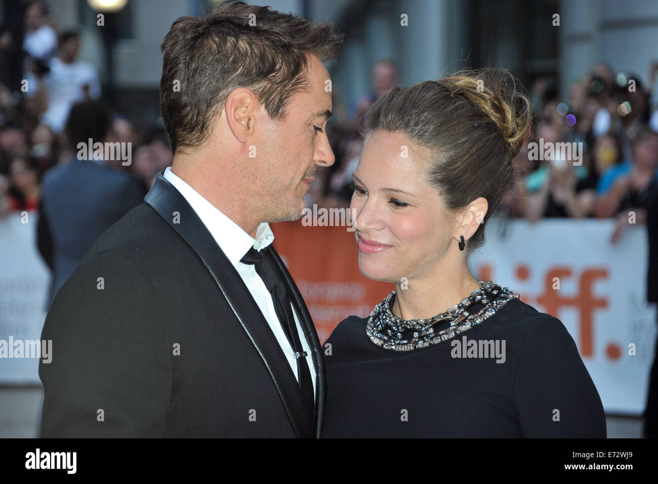 Toronto, Ontario, Canada. 4th Sep, 2014. Actor ROBERT DOWNEY JR. and producer SUSAN DOWNEY attend 'The Judge' - Stock Image