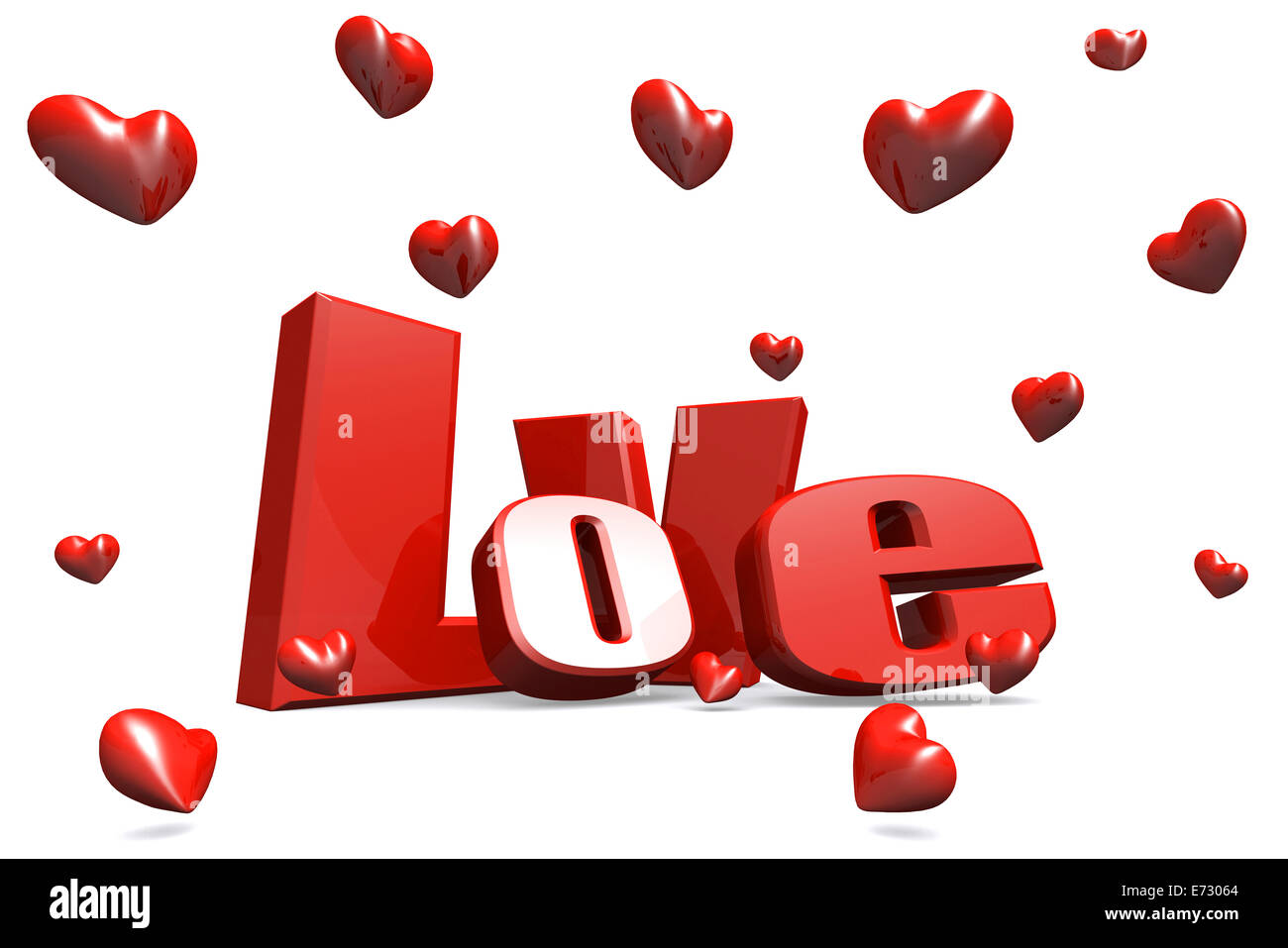 Love 3D text on white, happy valentines day background - Stock Image