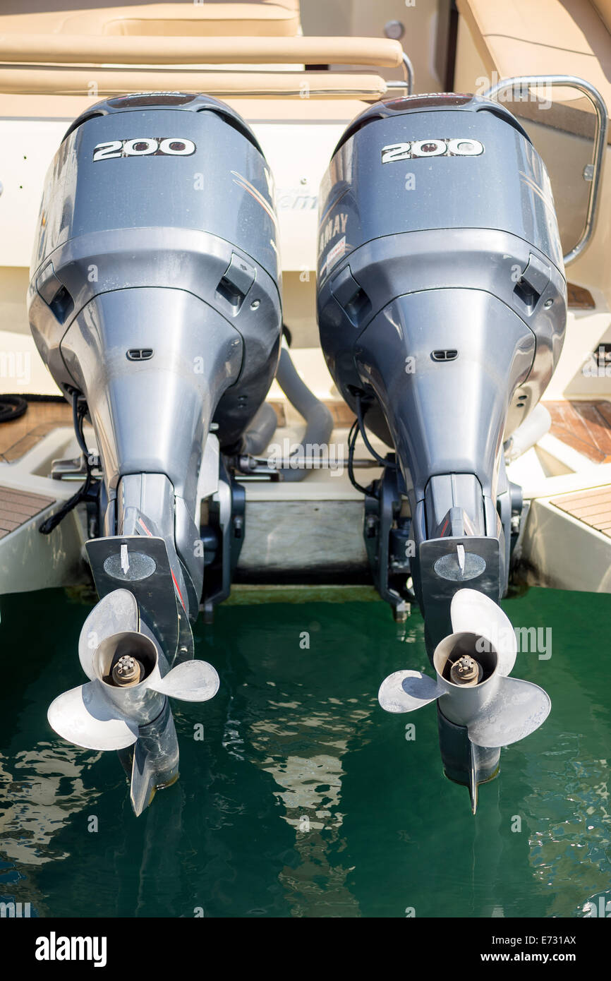 Two boat's engines with propellers - Stock Image