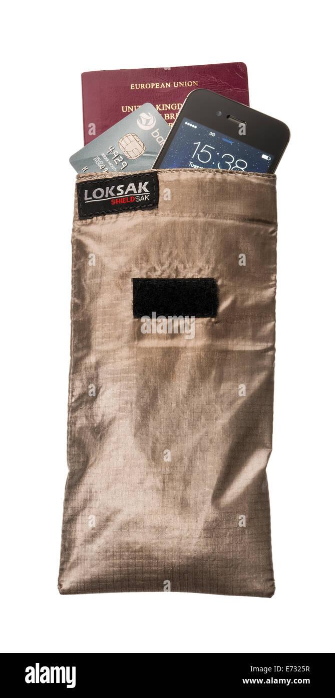 LokSak ShieldSak bag for secure data protection. Blocks radio frequencies, infrared and scanning signals. - Stock Image