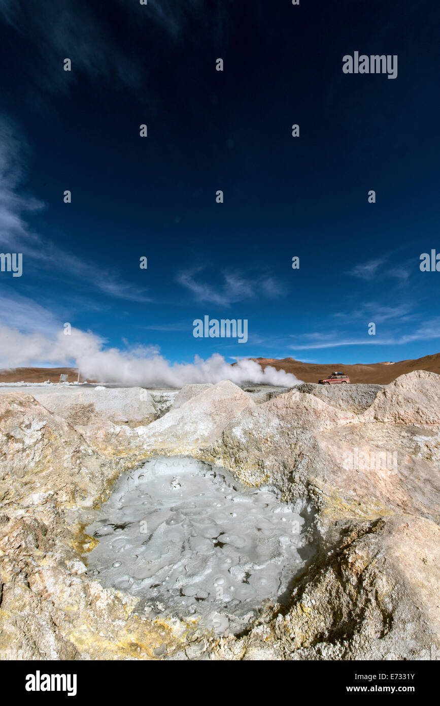 Geothermic land of Sol de Manana (Sun of Tomorrow) Bolivia South America - Stock Image