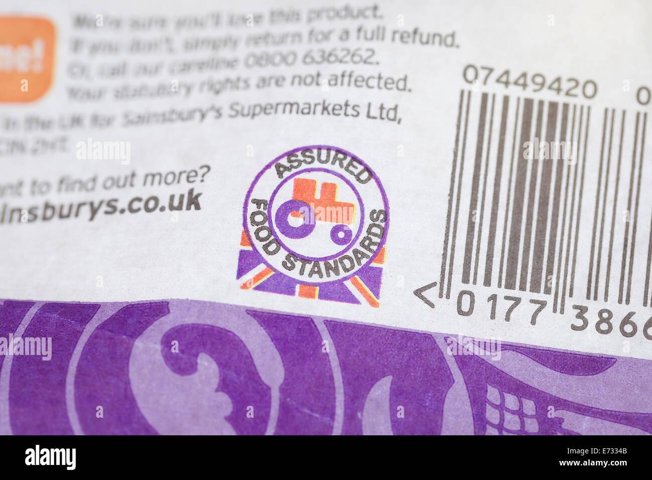 Logo from the assured food standards association, UK - Stock Image