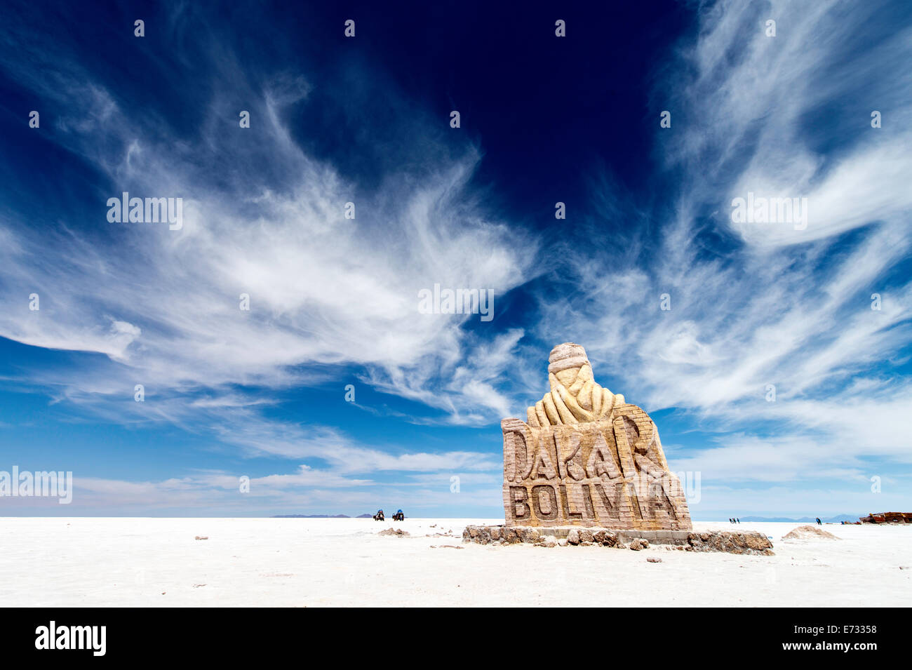 Dakar Rally monument Uyuni salt flats Potosi Bolivia South America - Stock Image