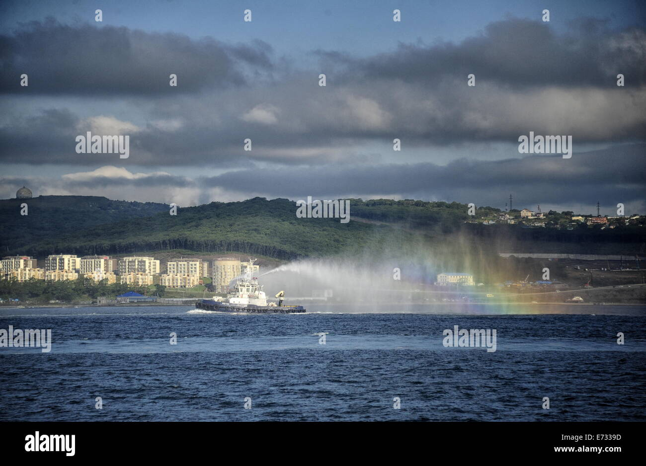 Primorye Territory, Russia. 5th Sep, 2014. A PE-65 escort tug of the Russian Black Sea Fleet takes part in the naval - Stock Image