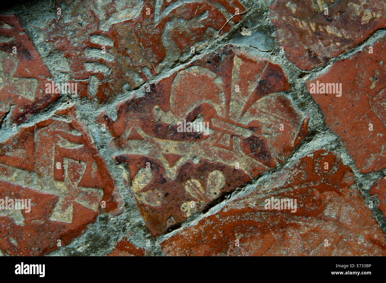 Medieval floor tiles, St. Mary`s Church, Chastleton, Oxfordshire ...