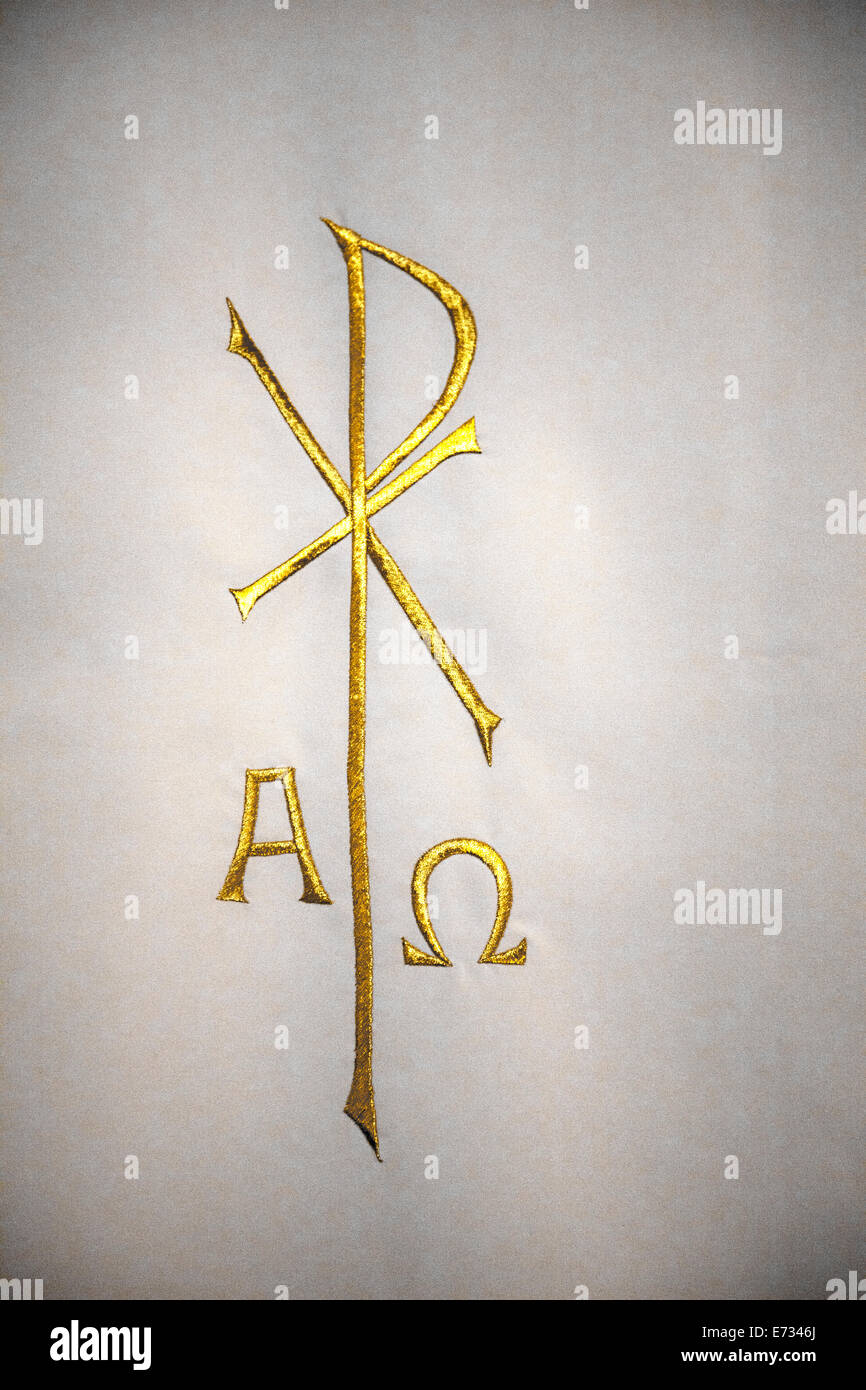 Religious Chi Rho Symbol With Alpha Omega Embroidered In Gold On