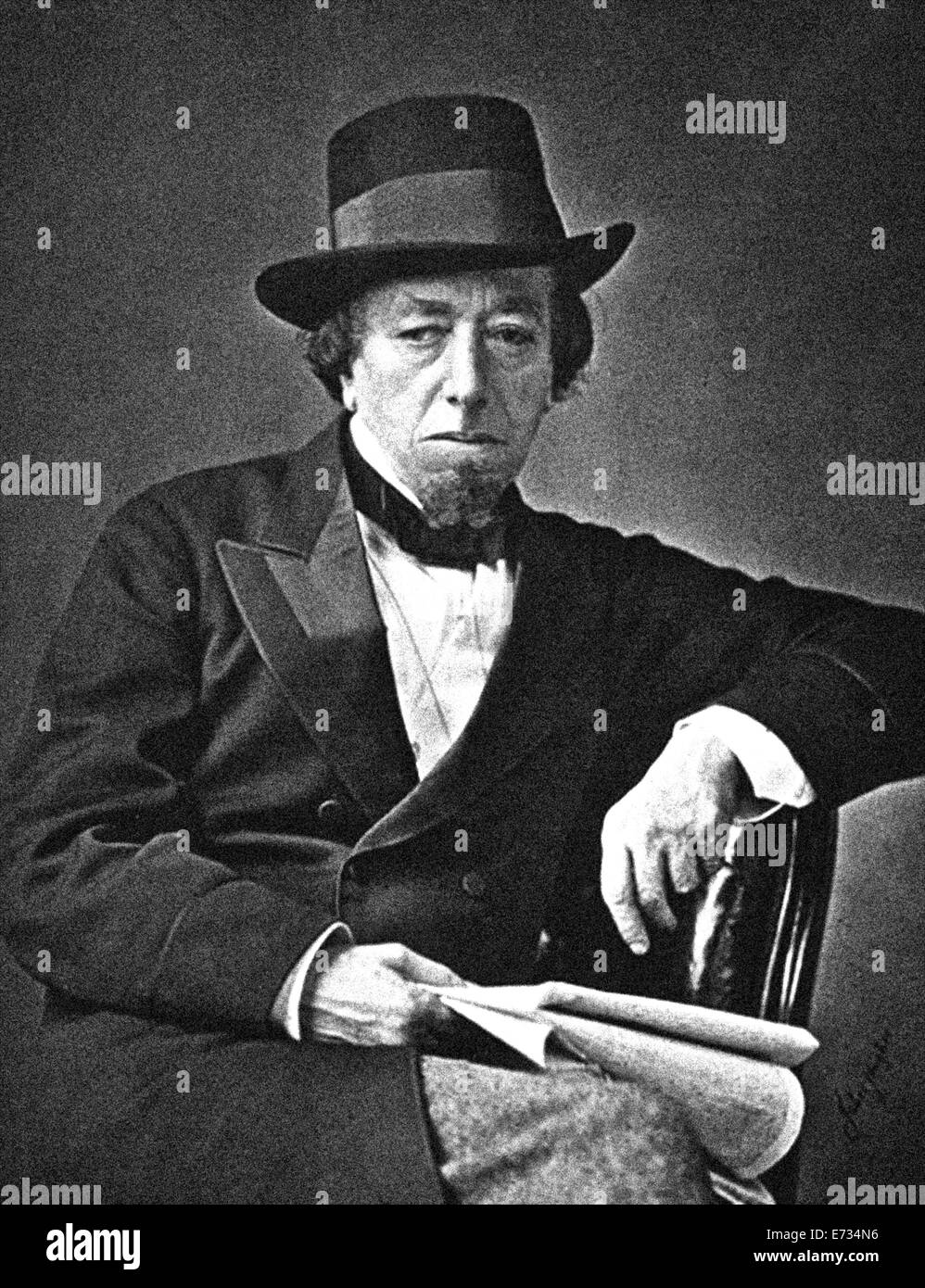 Benjamin Disraeli, 1st Earl of Beaconsfield, KG, PC, FRS, (21 December 1804 – 19 April 1881) was a British Prime - Stock Image