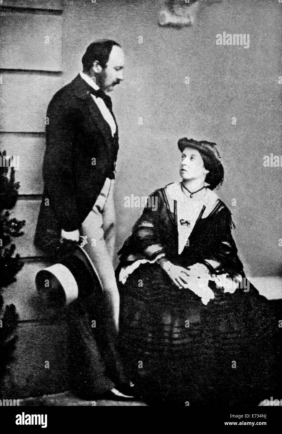 Prince Albert husband consort and Queen Victoria in 1860. From the archives of Press Portrait Service - Stock Image