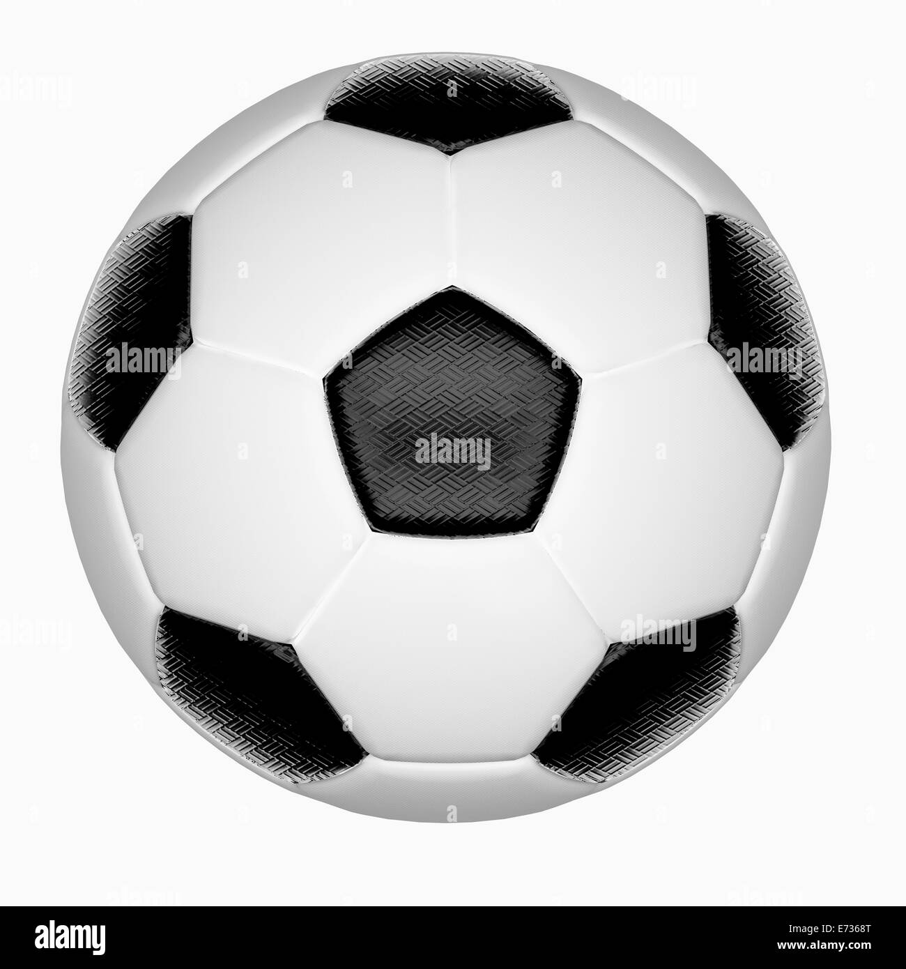 Two tone black and white soccer ball isolated on white background - Stock Image