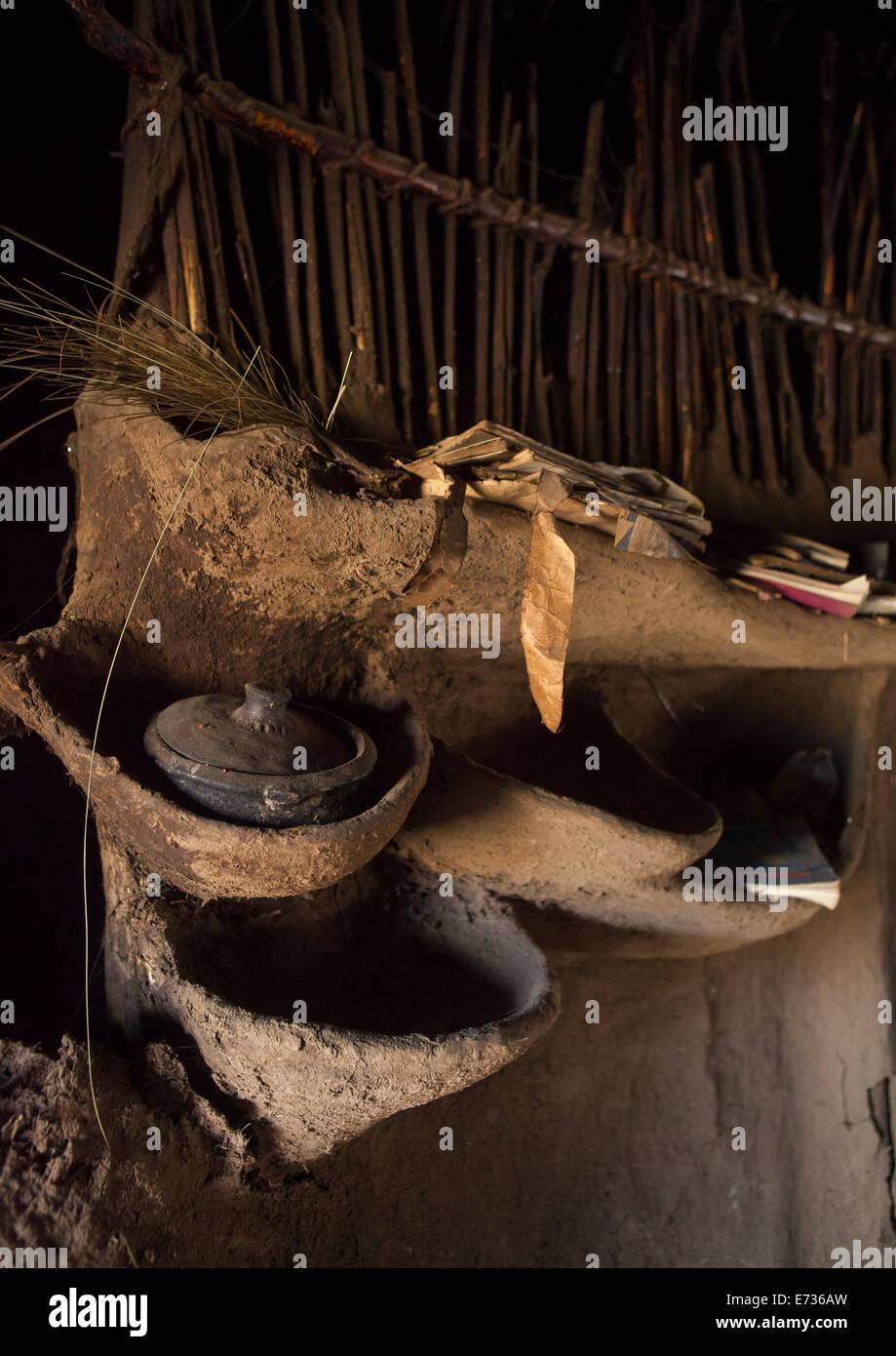 The Inside Of A Hut, Lalibela, Ethioipia - Stock Image