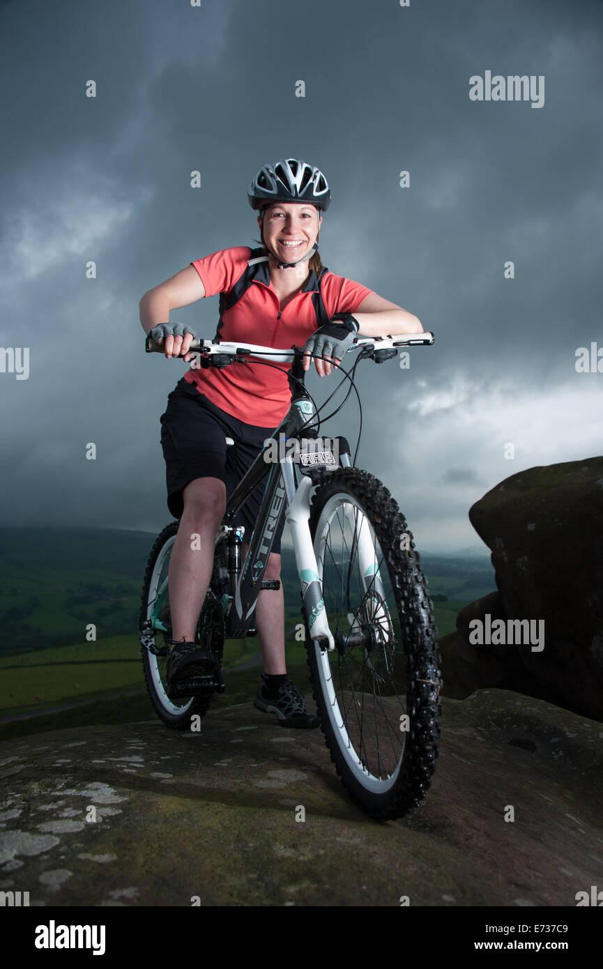 Female mountain biker in the Peak District, UKStock Photo