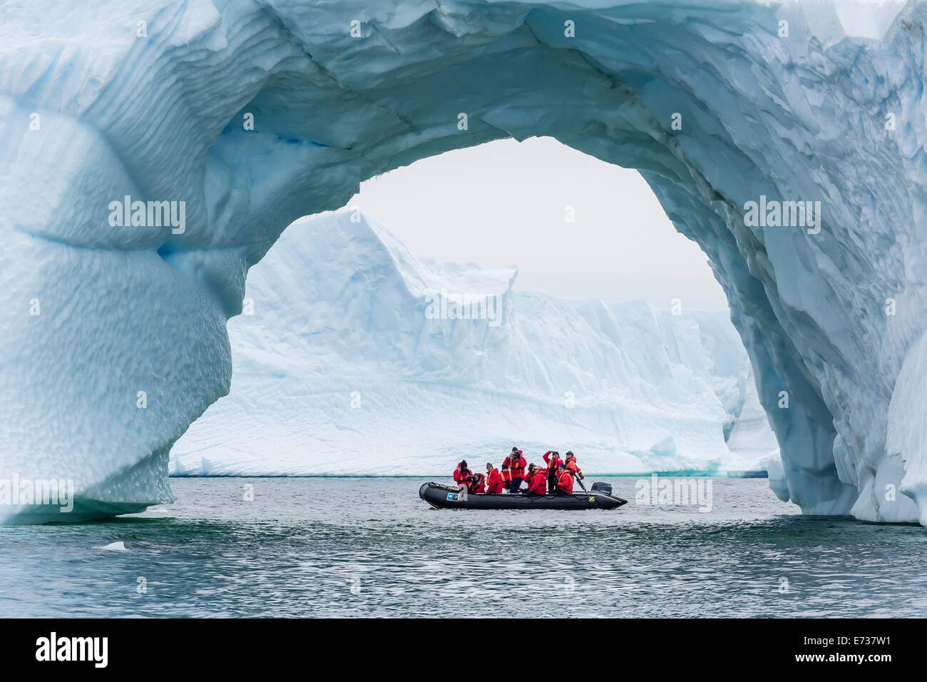 Lindblad guests from the National Geographic Explorer on a Zodiac cruise in Cierva Cove, Antarctica, Polar Regions - Stock Image