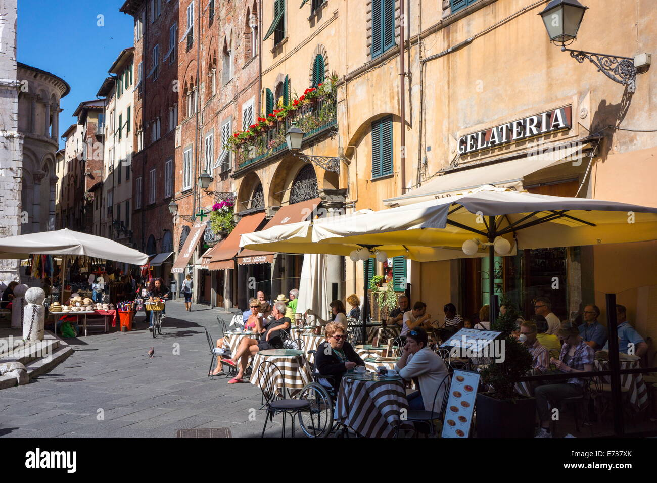 Picturesque street in Lucca, Tuscany, Italy, Europe - Stock Image