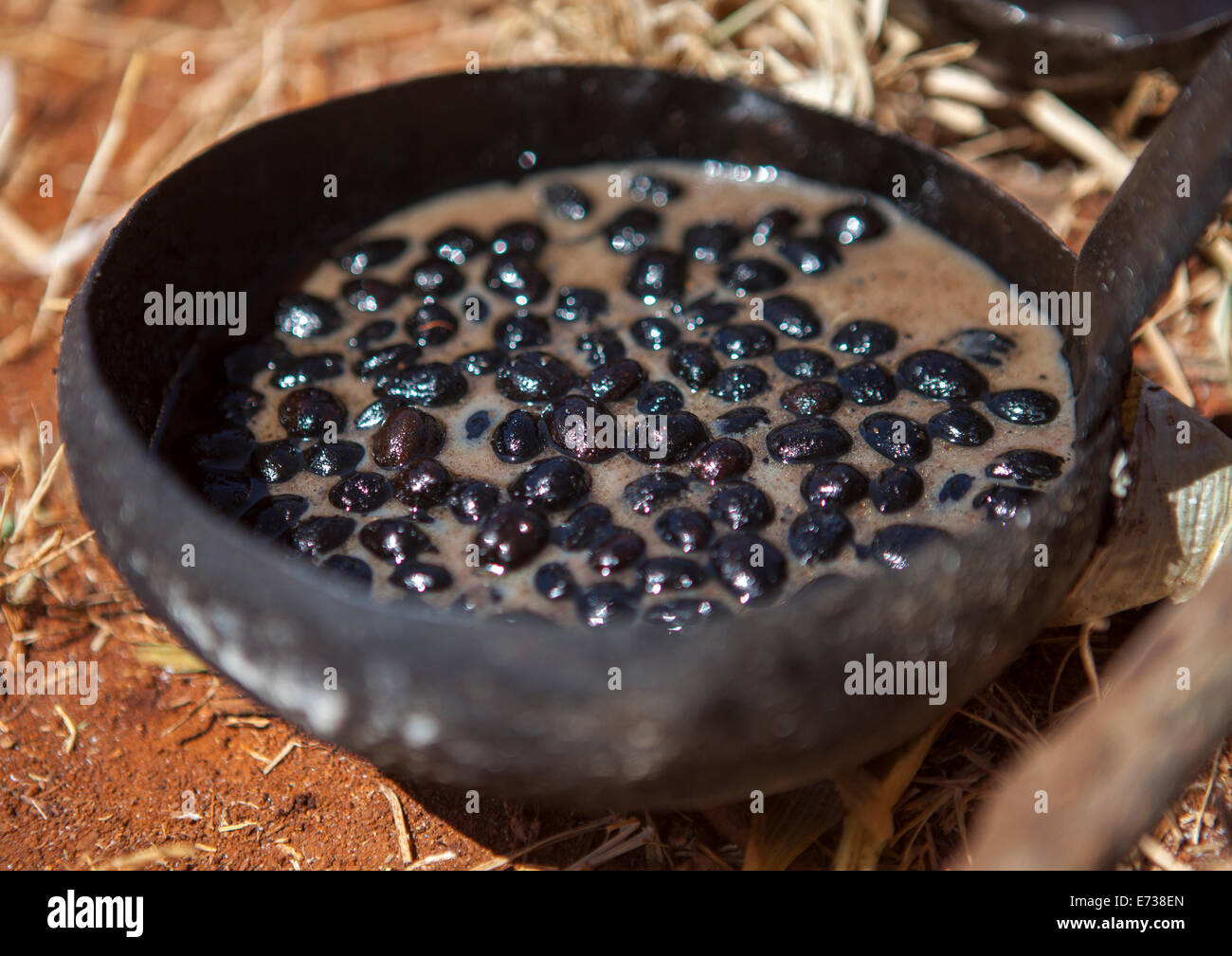 Coffee Beans Roasted In Butter, Borana Tribe, Yabelo, Ethiopia - Stock Image