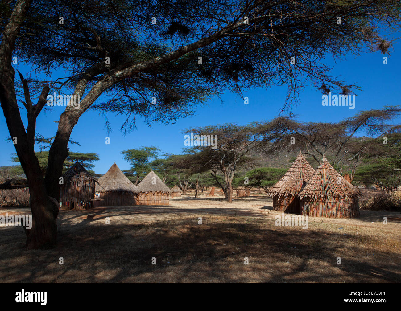 Traditional Village In Borana Tribe, Ola Alakadjilo, Ethiopia - Stock Image