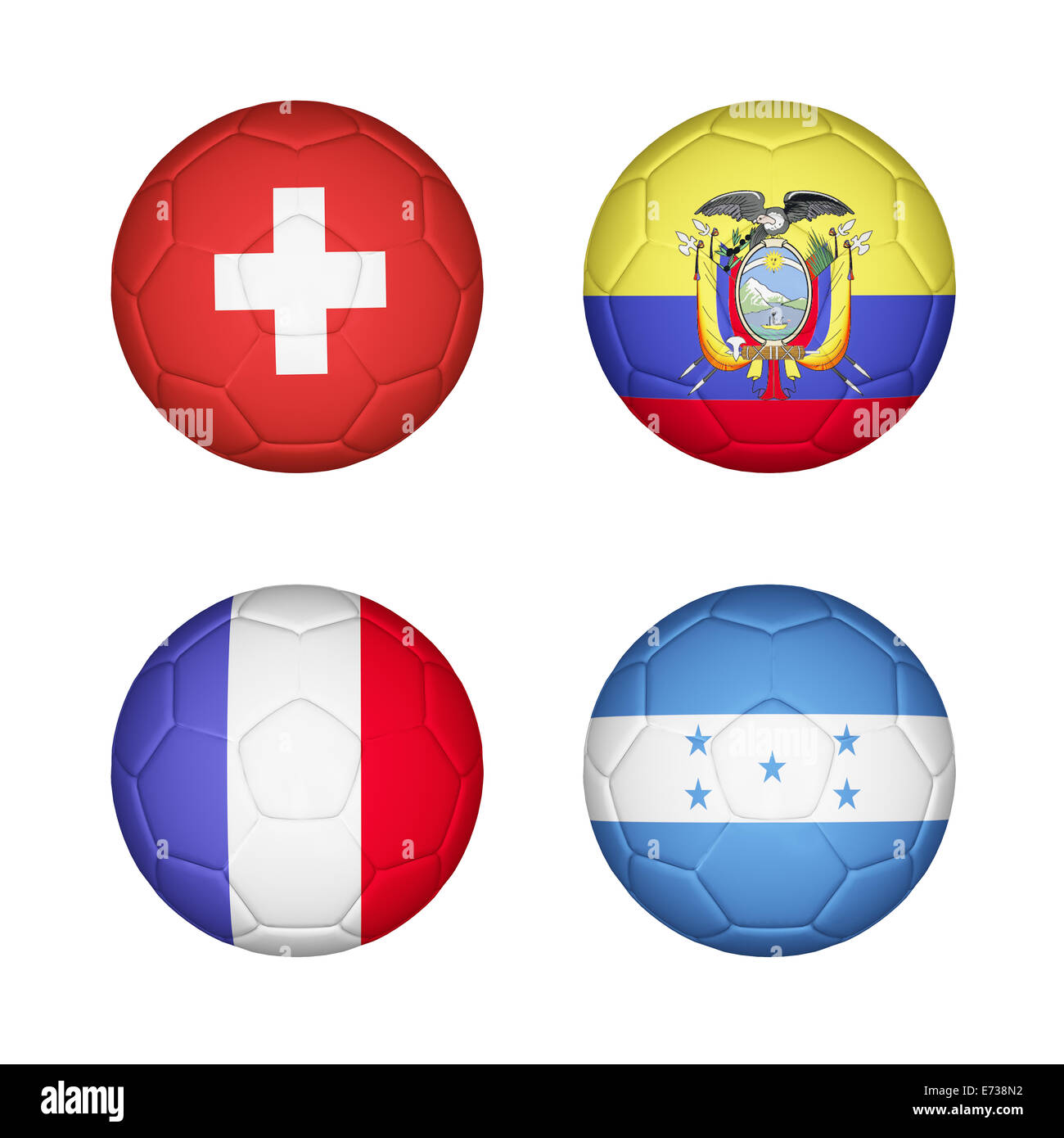 Soccer ball mapping with 4 country flags set Stock Photo