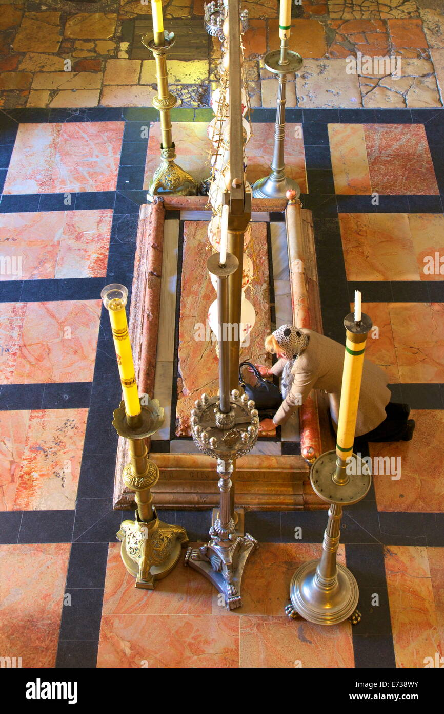 Stone of Unction, The Church of The Holy Sepulchre, Jerusalem, Israel, Middle East - Stock Image