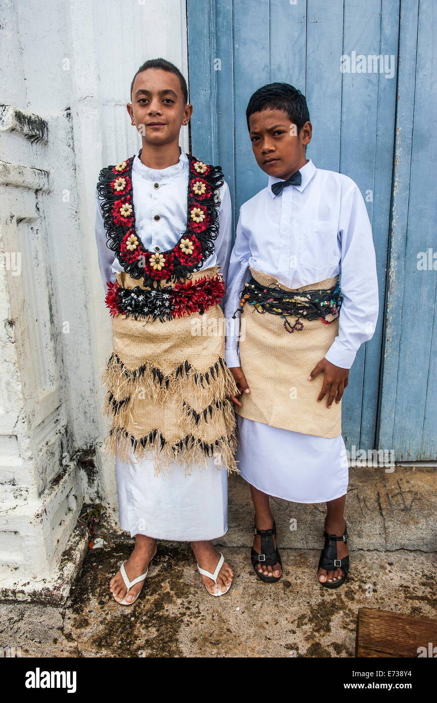 Traditiional dressed boys at a church service in Neiafu, Vavau, Vavau Islands, Tonga, South Pacific, Pacific - Stock Image