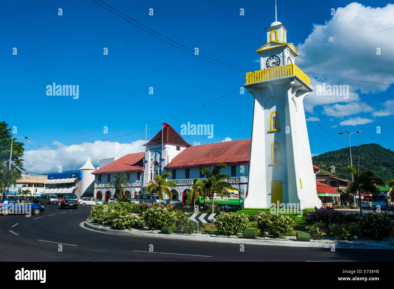 Clock tower in downtown Apia, Upolu, Samoa, South Pacific, Pacific - Stock Image