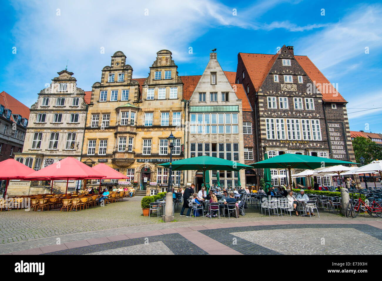 Old Hanse houses in Market square of Bremen, Germany, Europe - Stock Image