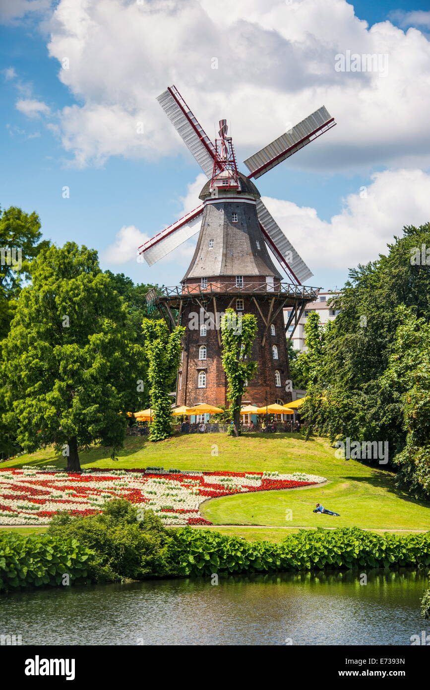 Old wind mill in Bremen, Germany, Europe - Stock Image