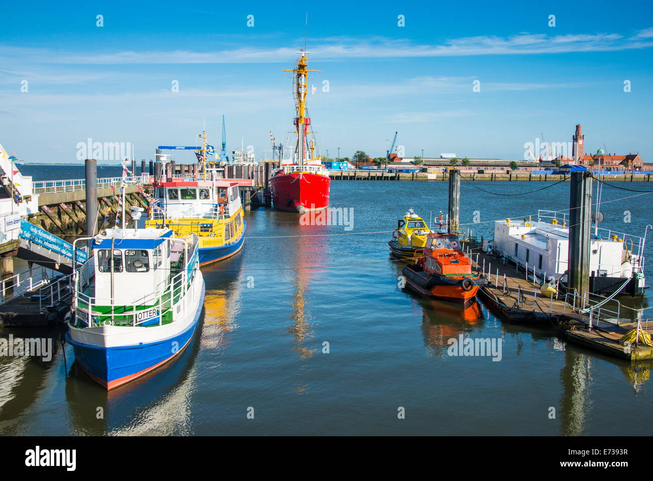 Fishing boats in the harbour of Cuxhaven, Lower Saxony, Germany, Europe - Stock Image